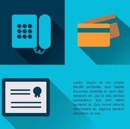 Ícones de certificado de cartão de crédito de telefone