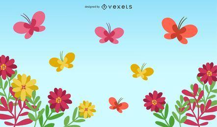 Borboletas com flores