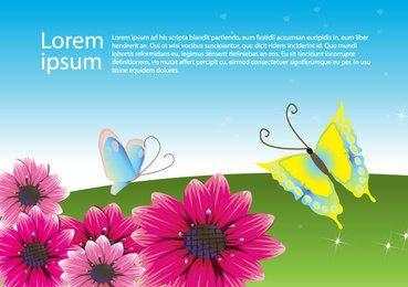 Flores con mariposas