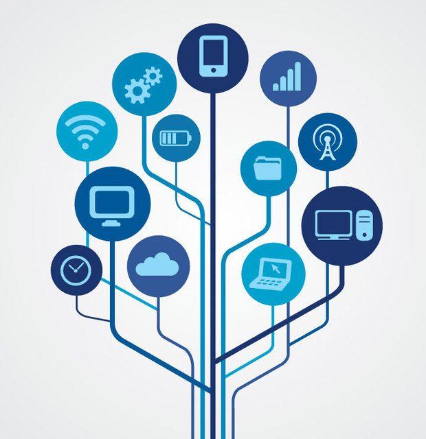 Symbole für Netzwerktechnologie