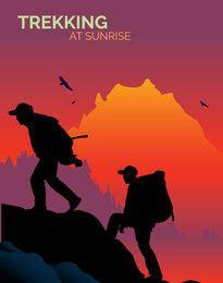 Hombres trekking montaña