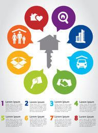Infografía de llave de casa