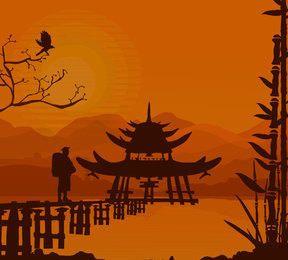 Fondo oriental de la puesta del sol