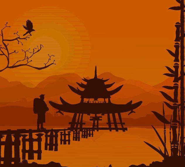 Oriental Sunset Background
