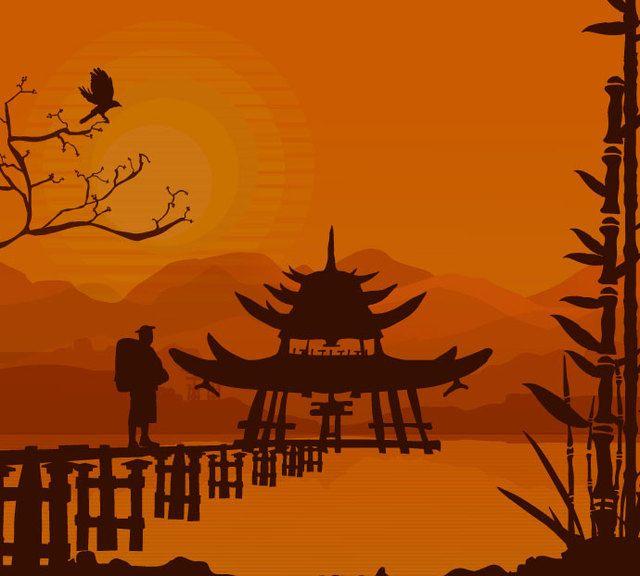Fondo de puesta de sol oriental