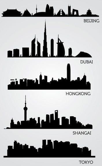 Silhuetas de horizonte asiático