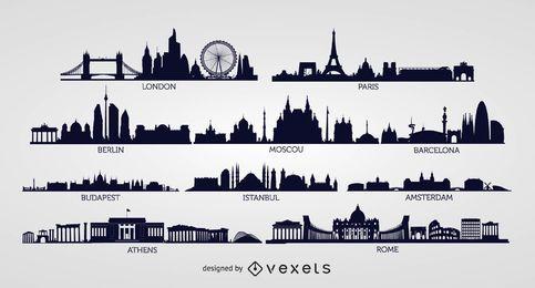 Siluetas europeas del horizonte