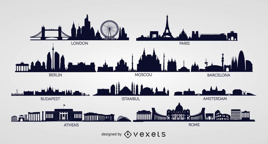 European Skyline Silhouettes