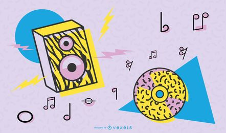 Vetor de pop art de música