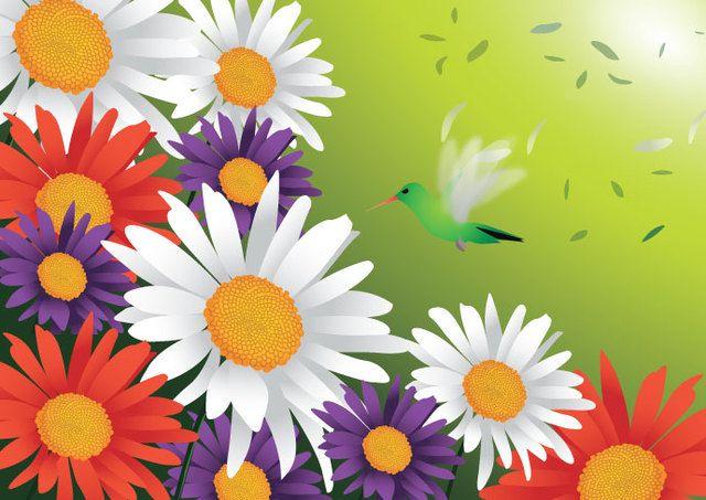 Pájaro de flores de primavera