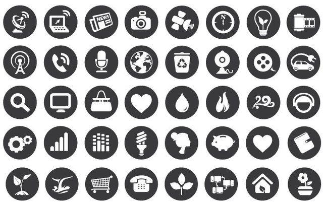 Iconos planos de tecnología ecológica