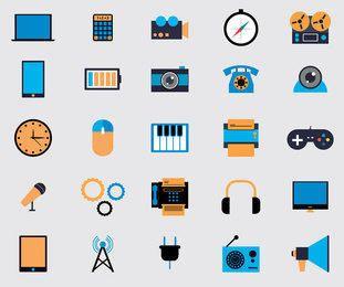 Ícones de multimídia plana