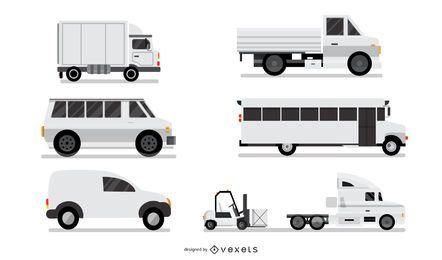 Conjunto de vehículos industriales blancos
