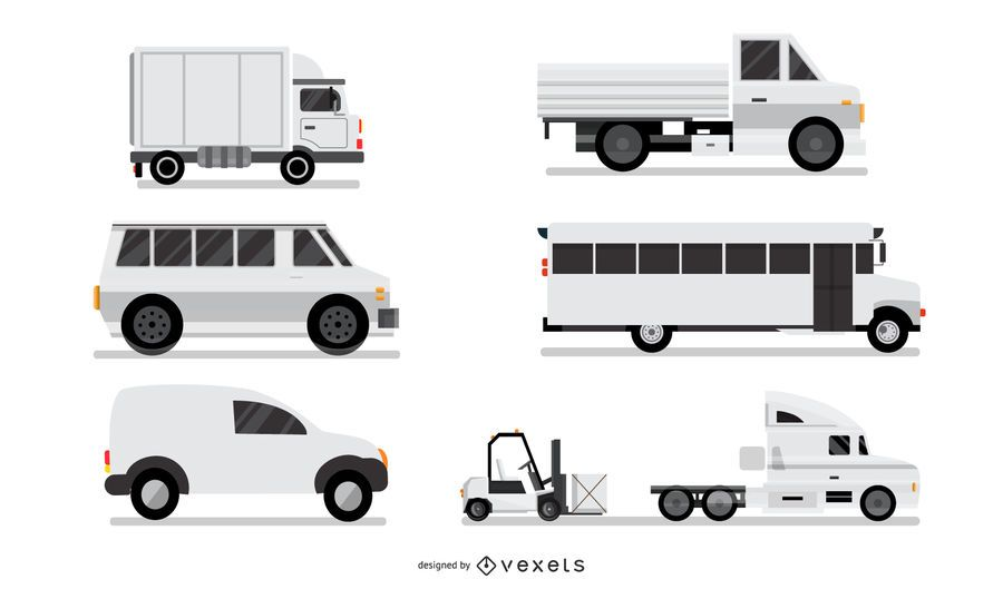 White Industrial Vehicles Set