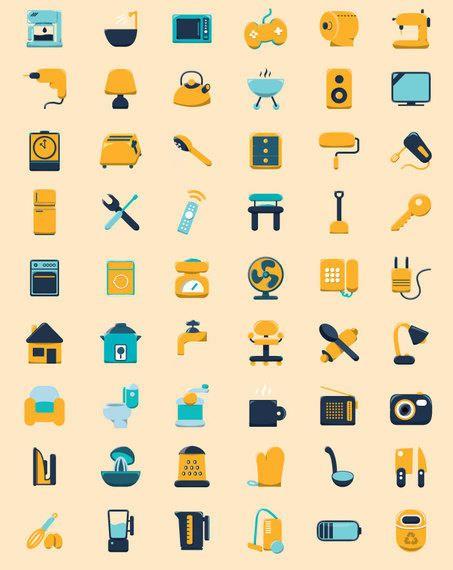 Ícones planas de uso doméstico