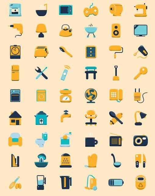 Haushaltsflache Symbole