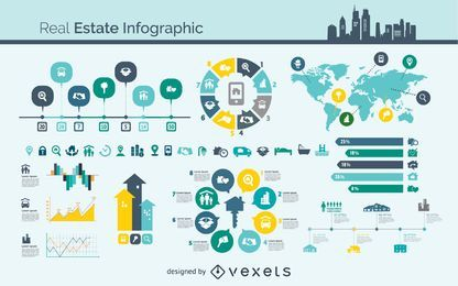 Vector de infografía de bienes raíces