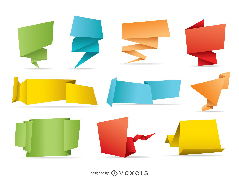 10 pancartas de origami