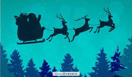 Papai Noel voando fundo de Natal