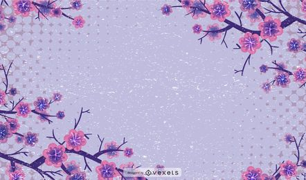 Grungy Floral Halftones Background