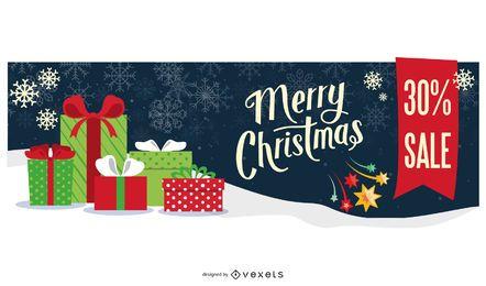 Diseño de banner de venta de feliz Navidad nevado