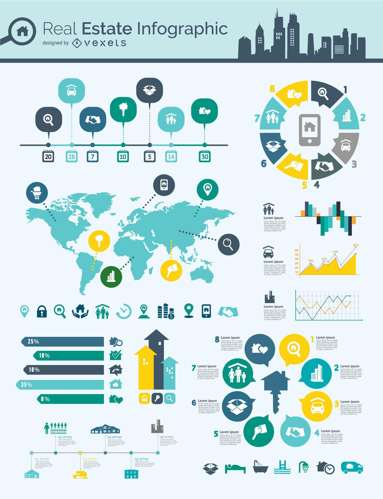 Inmobiliario mapa mental infografía - Descargar vector