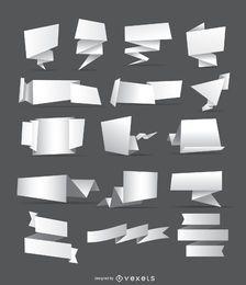 16 pancartas y cintas de origami