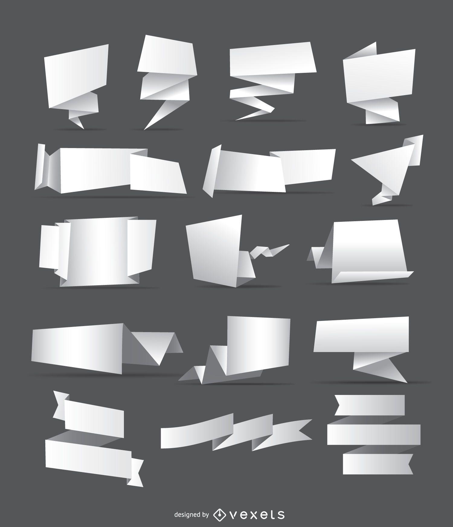 16 banderas y cintas de origami