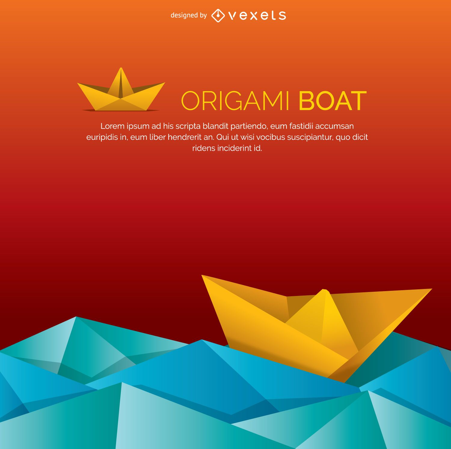 Origami Boat And Water Vector Download