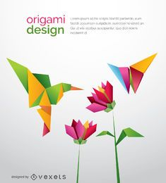 Pássaro de origami beija-flor com flores e borboleta