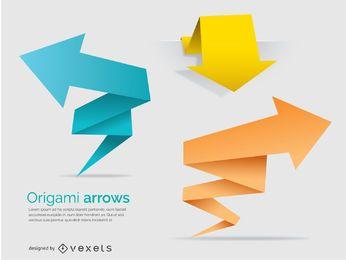 Banners y flechas poligonales de origami
