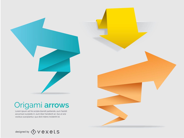 Flechas poligonais de origami e banners