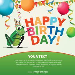 Cartão de bug de críquete de feliz aniversário