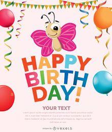 Cartão do convite do aniversário da menina