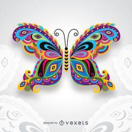 Kreativer bunter künstlerischer Schmetterling für Kartenglückwünsche, die Einladungen und mehr heiraten