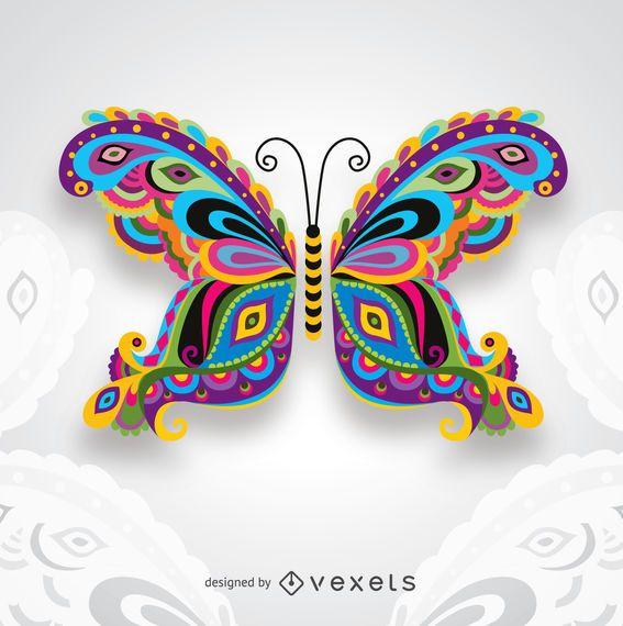 Creativa Colorida Mariposa Artística Para Tarjetas