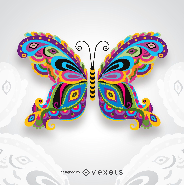 Kreativer bunter künstlerischer Schmetterling für Karten gratuliert Hochzeitseinladungen und mehr