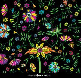 Bunte Tapete mit Blumenmuster
