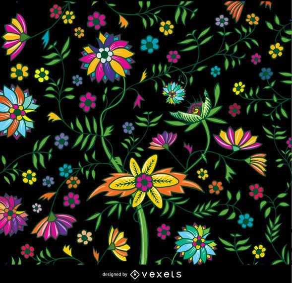 Papel pintado floral colorido