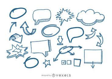 Burbujas del discurso y flechas garabatos