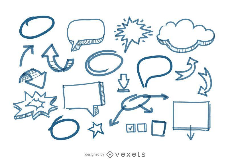 Bolhas do discurso e setas doodles