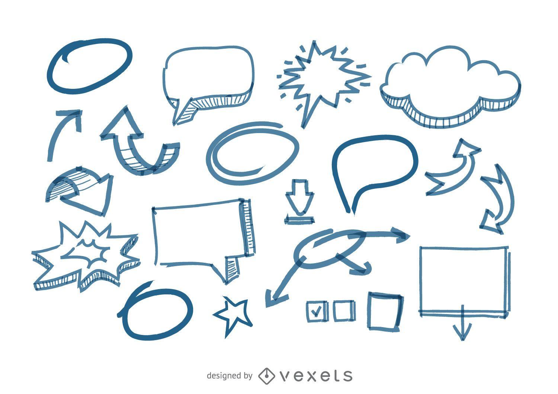 Garabatos de flechas y burbujas de discurso