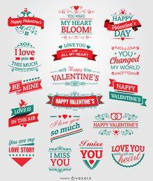 Emblemas, fitas e emblemas do dia dos namorados