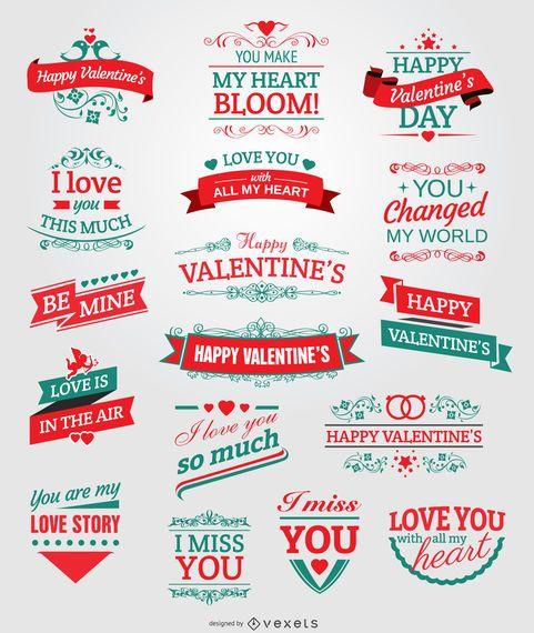Insignias de San Valentín, cintas y emblemas.