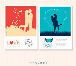 2 cartões de amor dos namorados