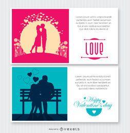 2 cartões postais dos Namorados