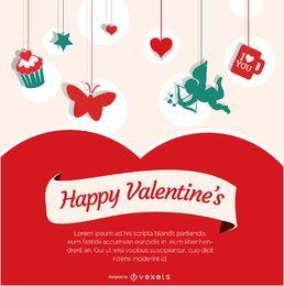 Cartel de feliz día de san valentín