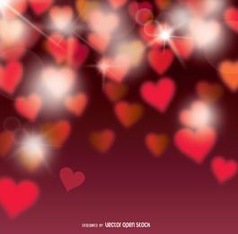 Fundo de corações Bokeh dos Namorados