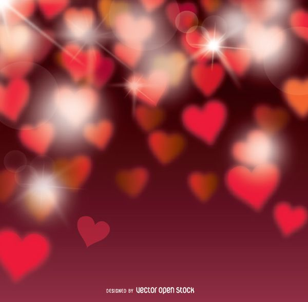 Valentine's Bokeh hearts background