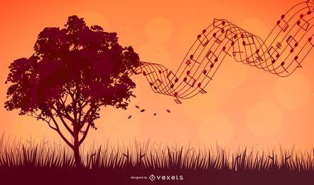 Paisagem de árvore de canção de verão